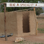 The – very bare and under equipped- local Mercedes Benz specialist garage on the Pwalugu to Bolgatanga road, Talensi district, Upper East region, Ghana.