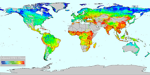 Adjusted Human Water Security Threat (Vörösmarty et al 2010)