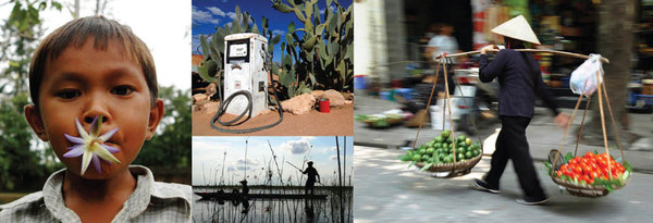 4 images- woman carrying food, man fishing, old fuel pump, young boy with flower in mouth